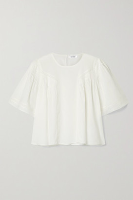 Anine Bing Eloise Crochet-trimmed Pleated Cotton-voile Blouse - White