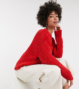Monki chenille crew neck sweater in red