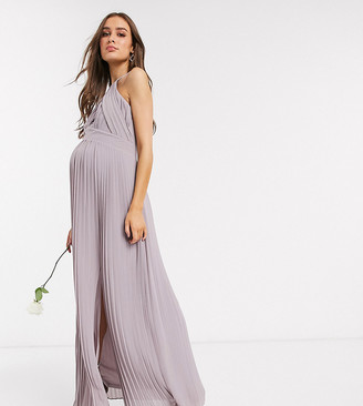 TFNC Maternity bridesmaid exclusive pleated maxi dress in grey