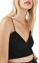Topshop Stripe Velvet Bralette