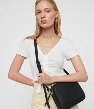 AllSaints Captain Lea Leather Square Crossbody Bag