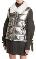 Moncler Kerria Metallic Fur-Collar Puffer Vest