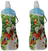 Fresh Baby 2 Pack Collapsible Water Bottle, Waterfall Motif