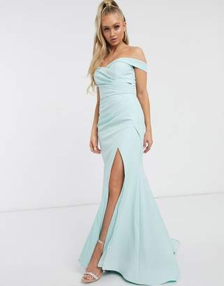 Jarlo Bridesmaid bardot maxi dress with sweetheart plunge in mint