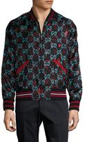 Gucci Silk Logo Printed Bomber Jacket