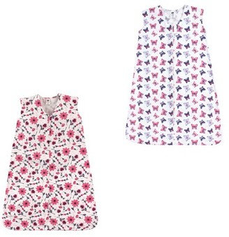 Hudson Baby Boy and Girl Jersey Cotton Sleeping Bag 2 Pack, Pink Flowers and Butterflies, 6-12 Months