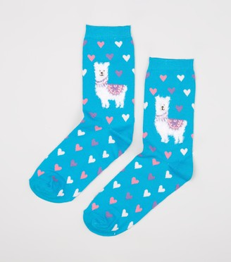 New Look Llama Heart Socks