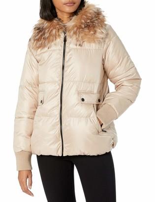 Sam Edelman Women's Short Jacket with Faux Fur Collar
