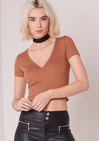 Missy Empire Marcy Rust Wrap Short Sleeved Crop Top