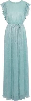 Zac Posen Samantha Ruffled-trimmed Metallic Plisse Stretch-knit Gown
