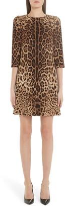 Dolce & Gabbana Leopard Print Cady Crepe Shift Dress