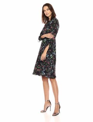 Milly Women's Wildflower Printed on Silk 3/4 Sleeve Diana Dress