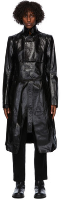 Ann Demeulemeester Black Leather Trench Coat