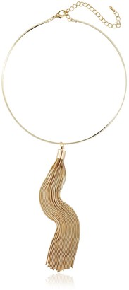 Kenneth Jay Lane Polished Gold Choker with Tassel Necklace