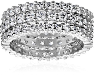 Amazon Collection Sterling Silver Cubic Zirconia All-Around Band Stacking Ring Set (Set of 3) Size 6