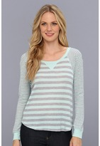 Splendid Striped Thermal Pullover (Spearmint) - Apparel
