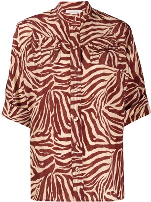 Zimmermann Zebra-Print Silk Shirt