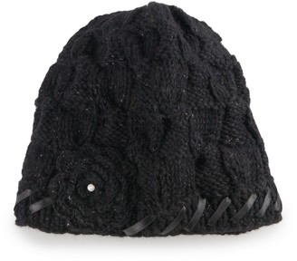 Women's SIJJL Wool Knit Flower Beanie