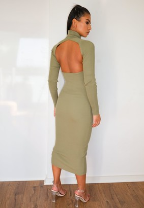 Missguided Green Cut Out Back Knitted Midaxi Dress