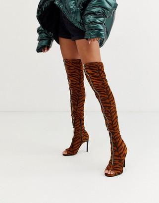 ASOS DESIGN Kyoko peep toe thigh high boots in tiger