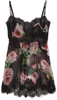 Dolce & Gabbana Lace-trimmed Floral-print Silk-blend Chiffon Camisole - Black
