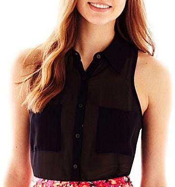 JCPenney Decree® Sleeveless Button Front Shirt