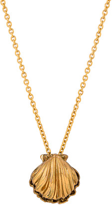 Saint Laurent Seashell Charm Long Necklace in Laiton Gold & Amber Gold | FWRD
