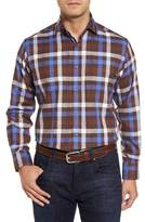Thomas Dean Men's Dobby Check Sport Shirt