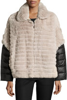 Gorski Rabbit Fur Jacket w/ Removable Down Sleeves, Taupe