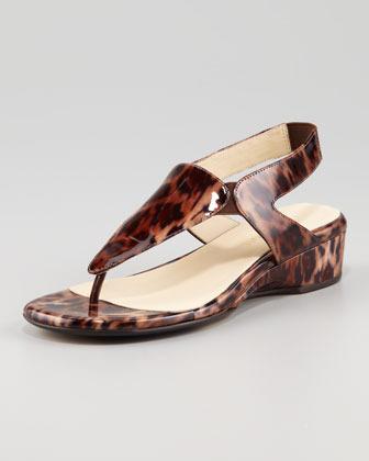 Taryn Rose Kiara Low-Wedge Thong Sandal, Leopard