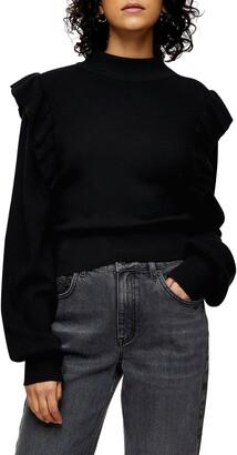 Topshop Ruffle Mock Neck Sweater
