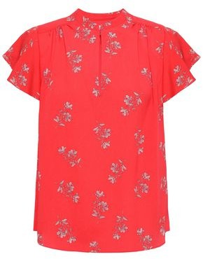 Joie Marlina Ruffle-trimmed Floral-print Crepe De Chine Blouse