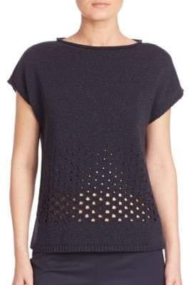 Lafayette 148 New York Luxe Merino Wool & Cashmere Metallic Eyelet Stitch Sweater