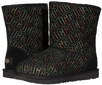 Ugg Kids Classic II Graphic Stitch (Little Kid/Big Kid) (Black) Girls Shoes