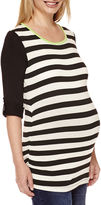 Asstd National Brand Maternity Long-Sleeve Striped Knit Top