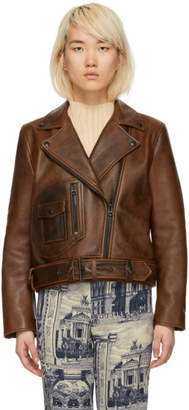 Acne Studios Brown Leather New Merlyn Jacket