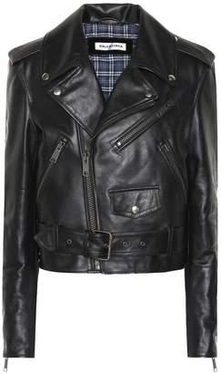 Balenciaga Printed leather biker jacket