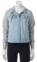 Mudd Juniors' Hooded Knit Denim Jacket