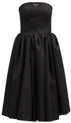 Prada Logo-plaque Re-nylon Strapless Circle Dress - Black
