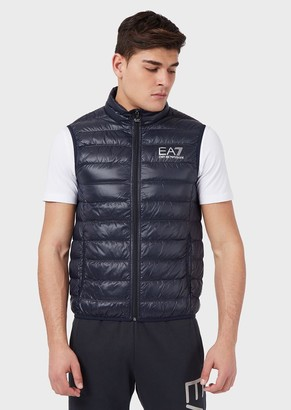 Ea7 Sleeveless Puffer Jacket With Full-Length Zip Closure And Logo