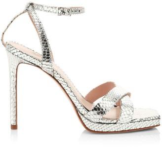 Schutz Ava Rose Snakeskin-Embossed Metallic Leather Platform Sandals