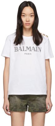 Balmain White 3 Button T-Shirt