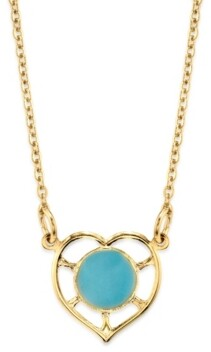 """2028 14K Gold Dipped Heart With Round Circle Light Blue Enamel Necklace 16"""""""
