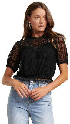 Forever New Cass Lace Yoke Dobby Crop