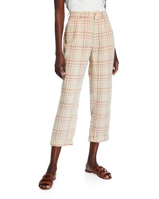 Forte Forte Tartan Plaid Linen-Cotton Cropped Pants