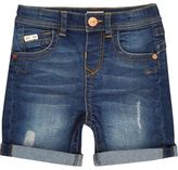 River Island Mini boys blue denim shorts