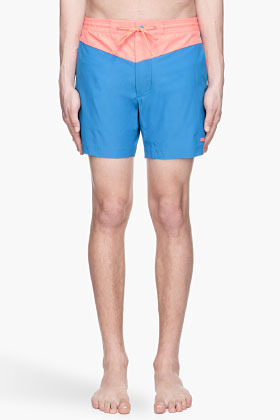 Marc by Marc Jacobs Electric blue and coral Jack Nylon Swim Shorts