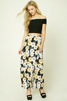 Forever 21 Wrap Front Floral Maxi Skirt