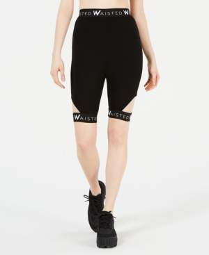 Waisted Cutout Biker Shorts