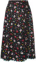 Marc Jacobs Floral-print Silk-jacquard Wrap Skirt - Black